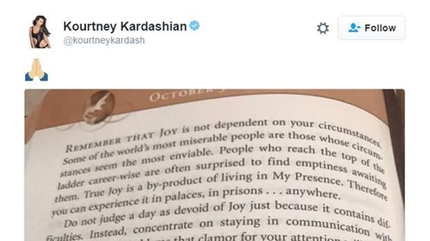 Kourtney Kardashian shared an excerpt from a daily devotional book about