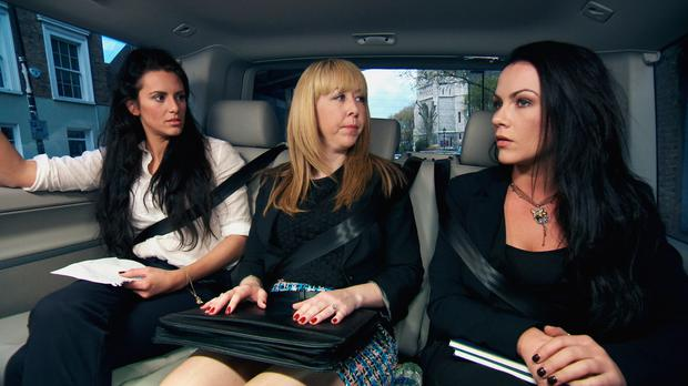 Grainne McCoy (far right) with, from left, Jessica Cunningham and Michelle Niziol in this year's The Apprentice. Photo: BBC/PA Wire
