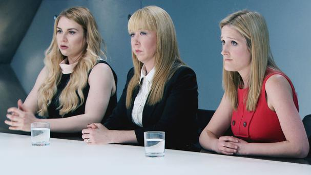 Alana Spender, Michelle Niziol and Rebecca Jeffery in the boardroom during The Apprentice (BBC/PA)