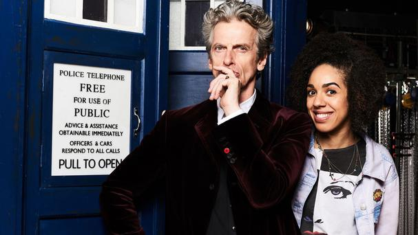 Peter Capaldi as the Doctor, and Pearl Mackie as new companion Bill (BBC/PA)