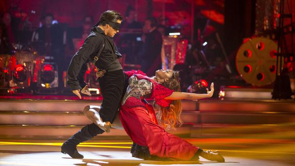 Actor Danny Mac with his professional dance partner, Oti Mabuse, in Strictly Come Dancing (BBC/PA)