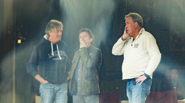 James May, Richard Hammond and Jeremy Clarkson on the set of The Grand Tour in Whitby.