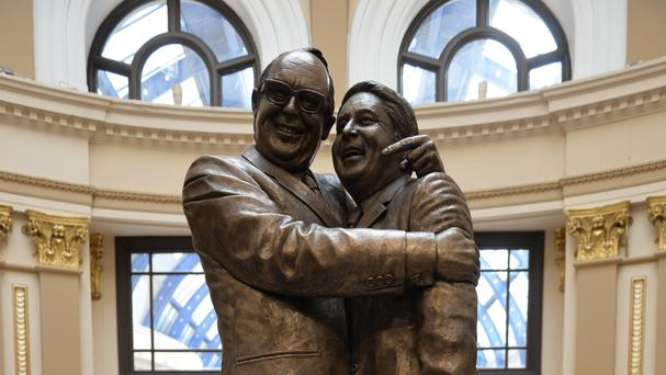 A statue of Morecambe and Wise that has been unveiled at Blackpool's Winter Gardens