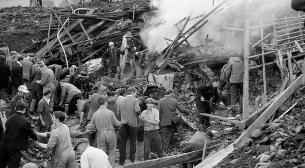 Rescuers at the scene of the Aberfan disaster