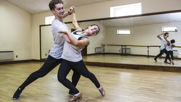 Claudia Fragapane and partner AJ Pritchard rehearse in a dance studio in Bristol