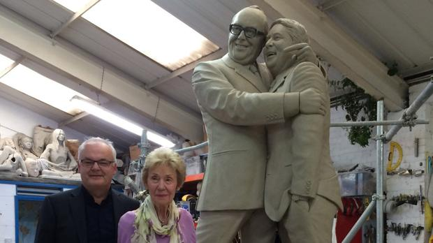 Eric Morecambe's widow Joan and son Gary viewing Graham Ibbeson's statue of comedy double act Morecambe and Wise