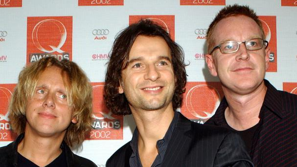 Depeche Mode (L-R) Martin Gore, Dave Gahan and Andy Fletcher in 2002.