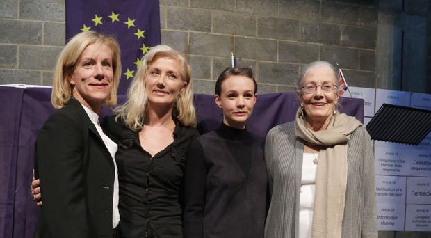 (left to right) Juliet Stevenson, Joely Richardson, Carey Mulligan and Vanessa Redgrave during a staged reading of the Dublin III regulation
