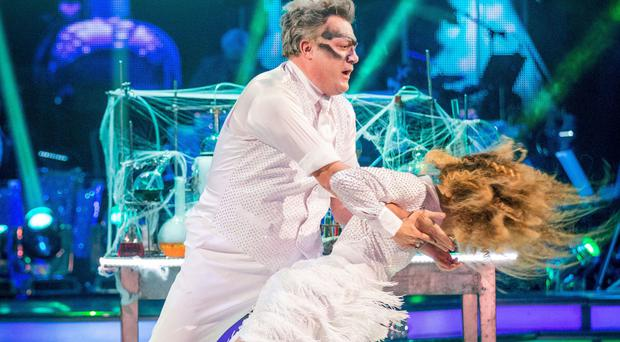 For use in UK, Ireland or Benelux countries only BBC handout photo of Ed Balls MP and Katya Jones during Saturday's live edition of the BBC1 show, Strictly Come Dancing.