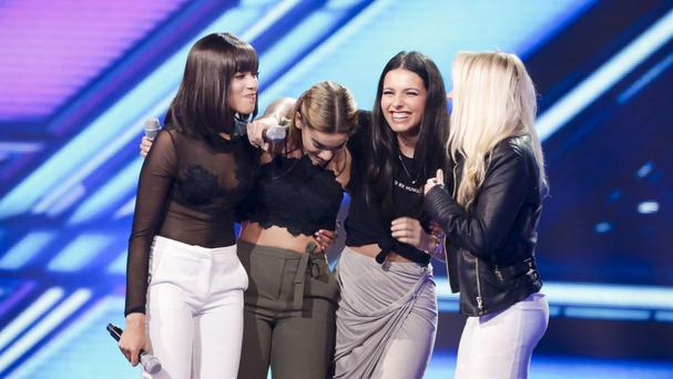 Four of Diamonds are favourites to leave The X Factor this week (SyCo/Thames/PA)