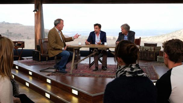 Jeremy Clarkson, Richard Hammond and James May during filming of The Grand Tour (Amazon Prime/PA)