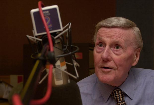 Sir Jimmy Young at the microphone on Radio 2 in 2002