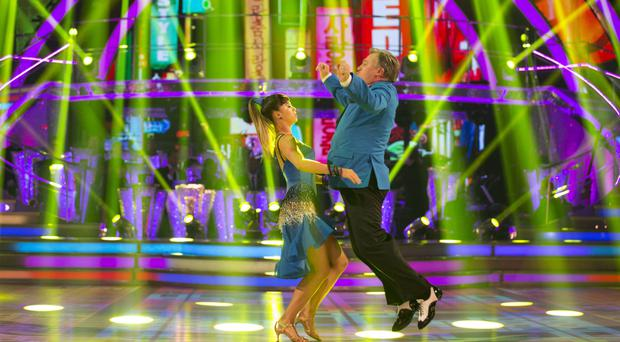 For use in UK, Ireland or Benelux countries only Undated BBC handout photo of Ed Balls and Katya Jones perfoming on last night's edition of the BBC1 show, Strictly Come Dancing.