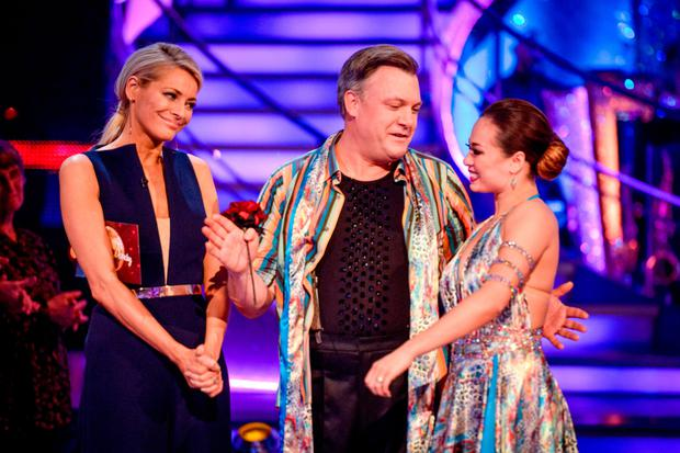 Ed Balls and dance partner Katya Jones with presenterTess Daly