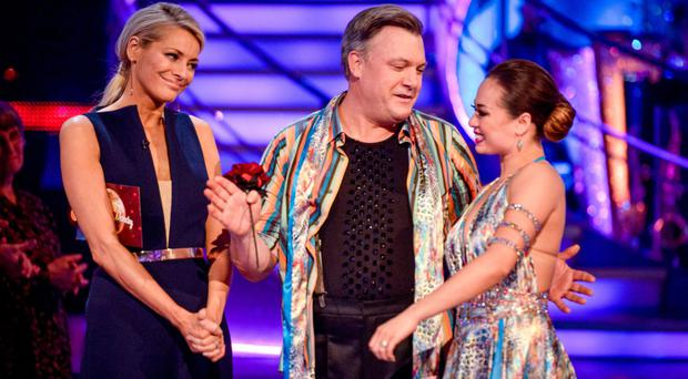 Tess Daly, Ed Balls and Katya Jones during the results show for Strictly Come Dancing (BBC/PA)