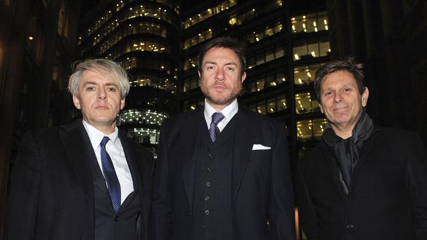 Duran Duran members (left to right) Nick Rhodes, Simon Le Bon and Roger Taylor attended court last month for their US copyright hearing