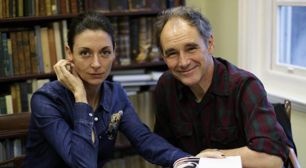 Photographer Mary McCartney and actor Mark Rylance sign copies of her new book Twelfth Night