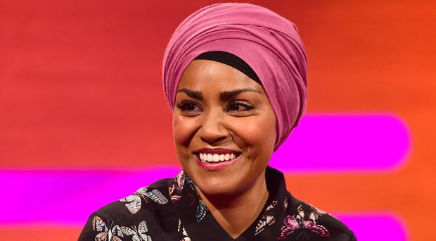 Nadiya Hussain during filming of The Graham Norton Show