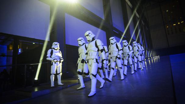 Stormtroopers in the Turbine Hall during the Rogue One: A Star Wars Story Premiere.