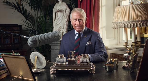 The Prince of Wales in Clarence House, London as he records a special message for BBC Radio 4's Just A Minute (BBC/PA)