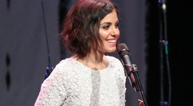 Katie Melua receiving the Order of Honour medal during her concert at the Georgian National Opera and Ballet Theatre of Tbilisi (Erekle Mumladze/PA)