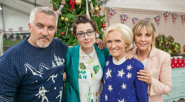 Paul Hollywood, Sue Perkins, Mary Berry and Mel Giedroyc, left to right, on The Great Christmas Bake Off