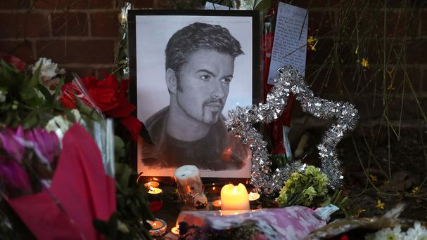 Tributes outside George Michael's house in Goring, Oxfordshire
