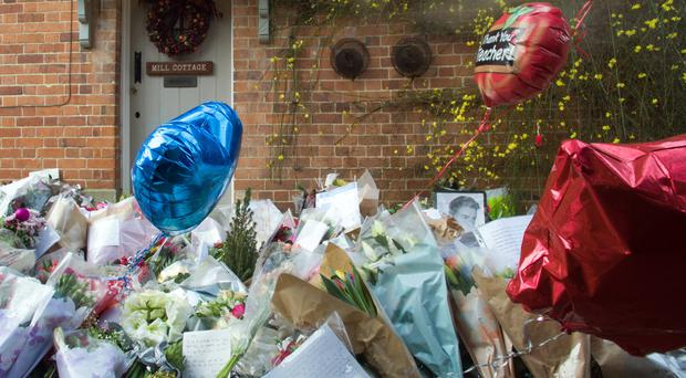 Floral tributes outside George Michael's house in Goring-on-Thames