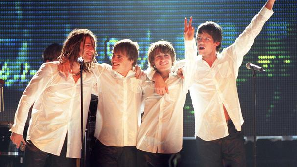 Take That perform at a Brit award ceremony