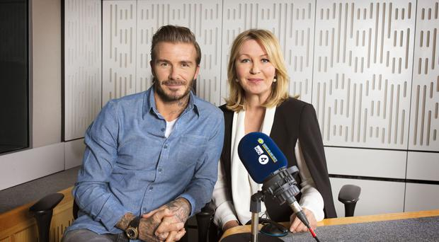 David Beckham joins Kirsty Young for the Desert Island Discs 75th anniversary celebrations (BBC/PA)