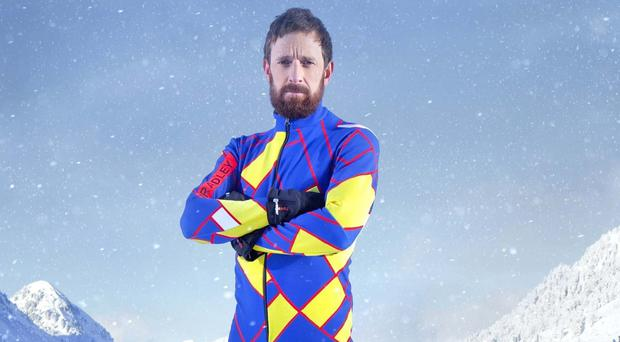 Sir Bradley Wiggins has swapped cycling gear for a tight-fitting ski suit in The Jump