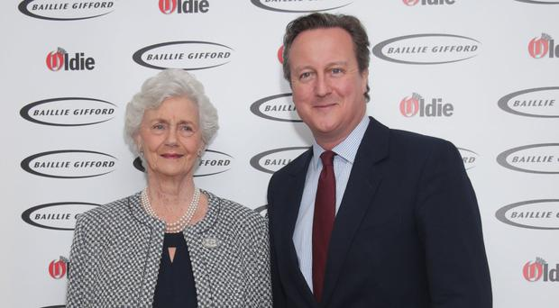 Mary Cameron with son David at the Oldie of the Year Awards in central London