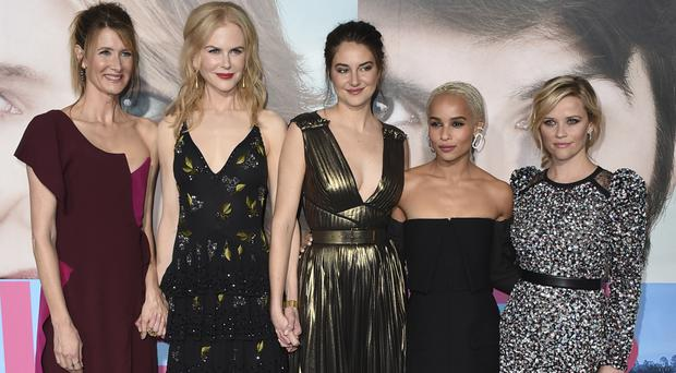 Left to right, Laura Dern, Nicole Kidman, Shailene Woodley, Zoe Kravitz and Reese Witherspoon arrive at the Los Angeles premiere of Big Little Lies (Invision/AP)