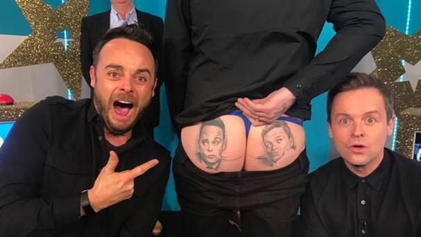 Ant and Dec posted a picture on Instagram showing them with Lee Crane and his tattoo of the TV presenters