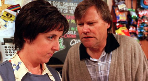 Former Coronation Street star Julie Hesmondhalgh as Hayley Cropper in a scene with David Neilson (Roy Cropper)
