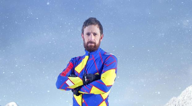 Undated file handout photo issued by Channel 4 of Sir Bradley Wiggins, has revealed he is already nursing an injury suffered while training for The Jump