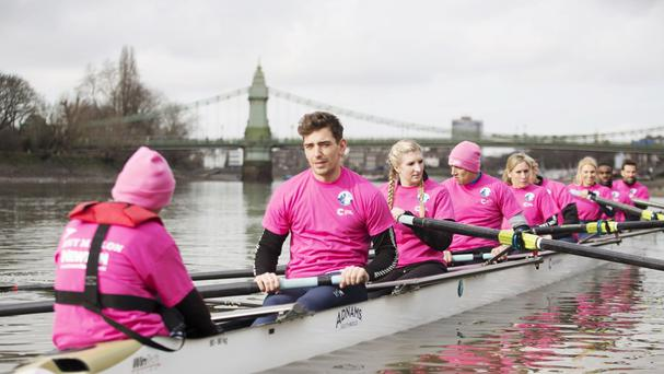 Team Cracknell, from left, James Fox, Rebecca Adlington, Vernon Kay, Sophie Raworth, Andrew Triggs-Hodge, Emma Spruce, Ore Oduba and Gethin Jones on the Thames (Cancer Research UK/PA)