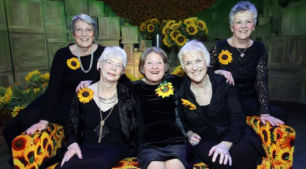 Understudy Judith Street, centre, who plays Jessie, after making her West End debut in a leading role at the age of 67, with members of the original Calendar Girls