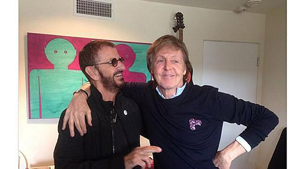 Screen grabbed image taken from the Twitter feed of Ringo Starr of the former Beatles drummer with Sir Paul McCartney