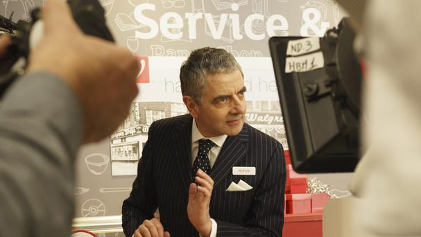 Rowan Atkinson filming the Love Actually sequel Comic Relief sketch (Comic Relief/PA)