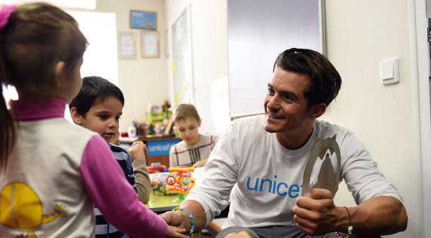 Orlando Bloom during a previous Unicef visit to eastern Ukraine as a Goodwill Ambassador (Unicef/PA)