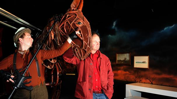 War Horse author Michael Morpurgo (right) with Joey, the large stage puppet from the play