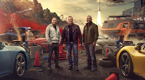 Chris Harris, left with co-stars Matt LeBlanc, middle, and Rory Reid, says the issue with the Top Gear reboot is 'chemistry' (BBC/PA)