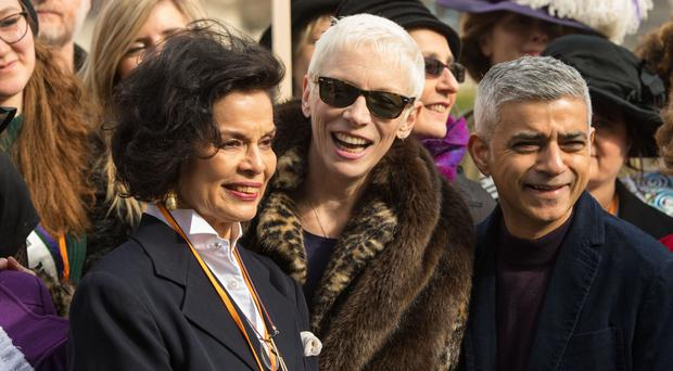 Bianca Jagger, Annie Lennox and Mayor of London Sadiq Khan ahead of the March4Women in London