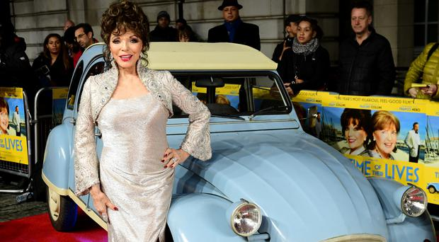 Dame Joan Collins attends the world premiere of The Time Of Their Lives at Curzon Mayfair, London