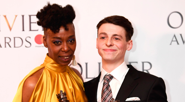 Harry Potter stars Noma Dumezweni and Anthony Boyle with their awards