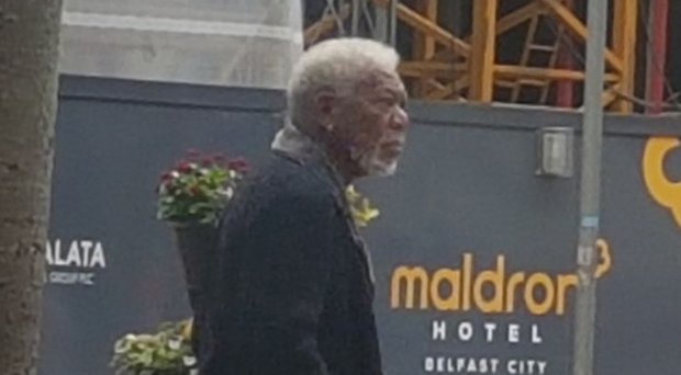 A picture posted on Twitter by Maldron Hotels of Morgan Freeman out walking in Belfast yesterday