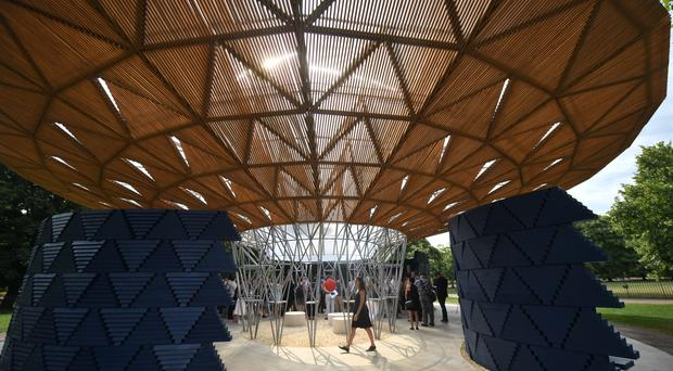 The gallery design by designer Francis Kere during the press view of Serpentine Gallery Pavilion 2017, at the Serpentine Gallery in Kensington Gardens, London.