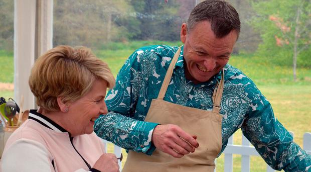 Chris Geiger shares a joke with Sandi Toksvig during episode two of Channel 4 cookery programme, The Great British Bake Off