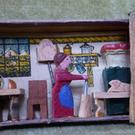 Wooden matchbox with domestic interior (private collection)
